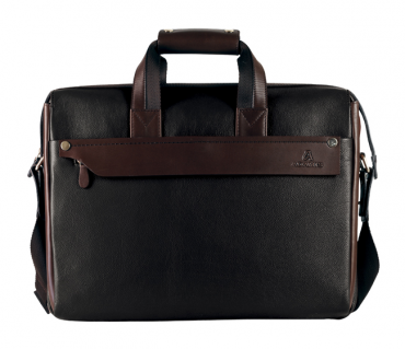 LC27-Henry-Laptop office executive bag in Genuine Leather - Black/Brown