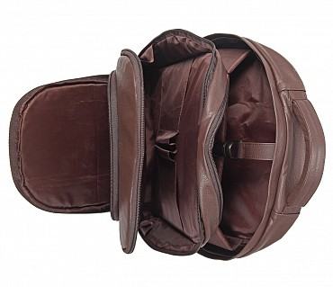LC29-Ryder-Unisex backpack for laptop bag in Genuine Leather - Brown