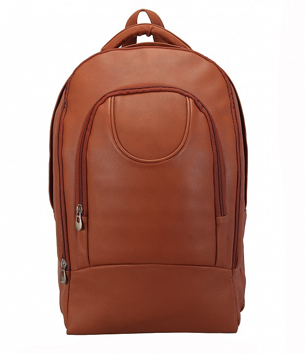 LC29-Ryder-Unisex backpack for laptop bag in Genuine Leather - Tan