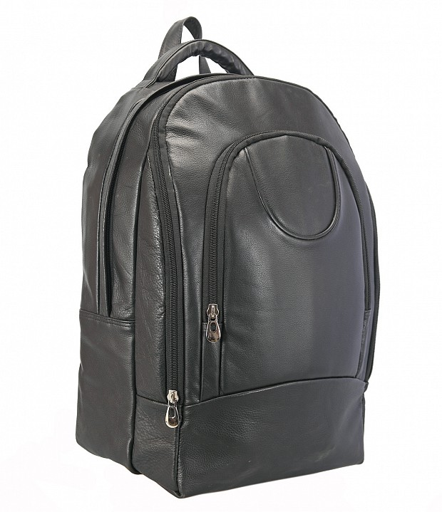 LC29-Ryder-Unisex backpack for laptop bag in Genuine Leather - Black