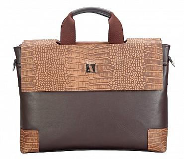 LC37-Ebner-Laptop, portfolio office executive bag in Genuine Leather - Brown / Tan