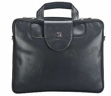 LC38-Raul-Laptop slim messenger bag in Genuine Leather - Black