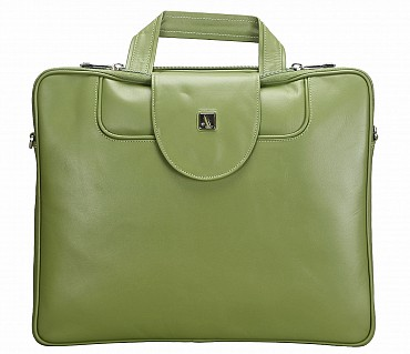 LC38-Raul-Laptop slim messenger bag in Genuine Leather - Green