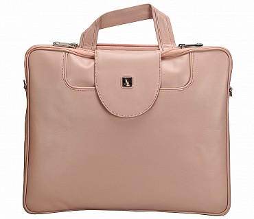 LC38-Raul-Laptop slim messenger bag in Genuine Leather - Pink.