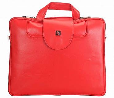 LC38-Raul-Laptop slim messenger bag in Genuine Leather - Red