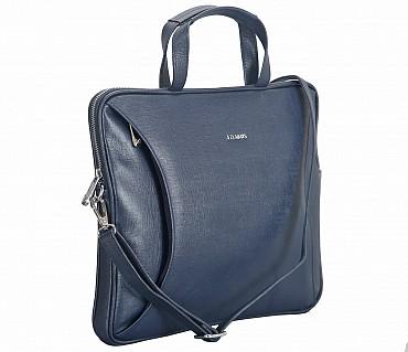LC39-Ramon-Laptop slim messenger bag in Genuine Leather - Blue
