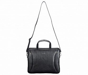 LC39-Ramon-Laptop slim messenger bag in Genuine Leather - Black