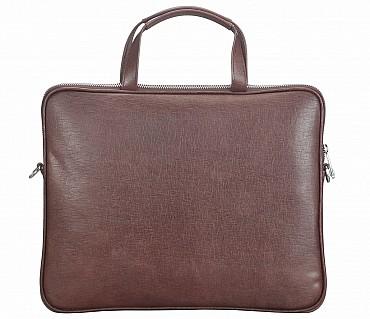 LC39-Ramon-Laptop slim messenger bag in Genuine Leather - Brown.