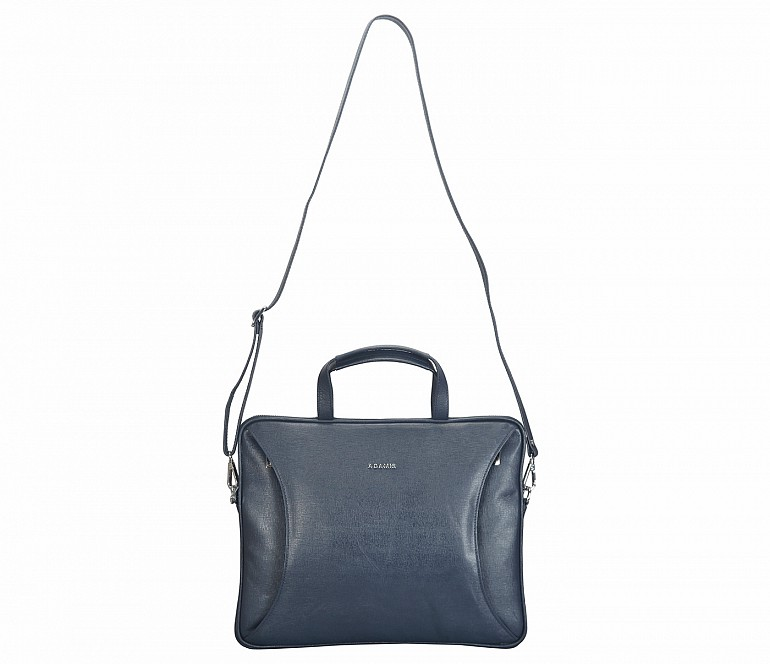 LC39-Ramon-Laptop slim messenger bag in Genuine Leather - Blue