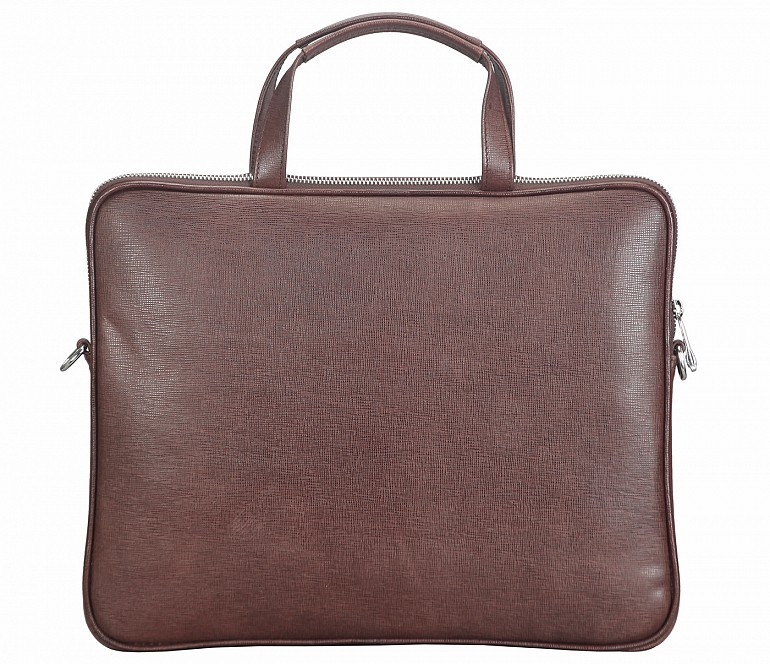 LC39-Ramon-Laptop slim messenger bag in Genuine Leather - Brown.