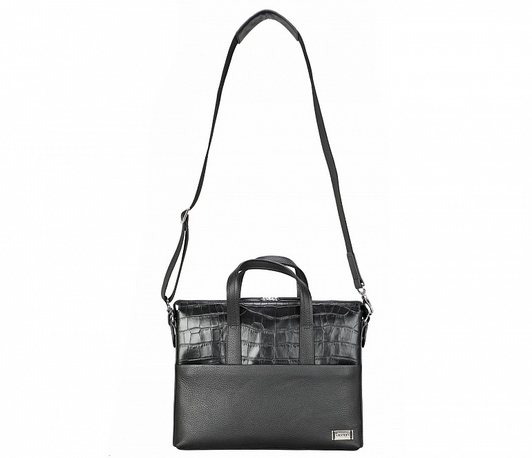 LC42-Rogelio-Laptop, portfolio office executive bag in Genuine Leather - Black