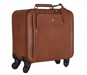 LC7-Antonia -Business cum travel cabin luggage strolley in Genuine Leather - Tan