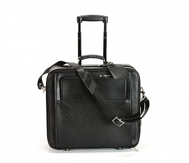 LC7-Antonia -Business cum travel cabin luggage strolley in Genuine Leather - Black