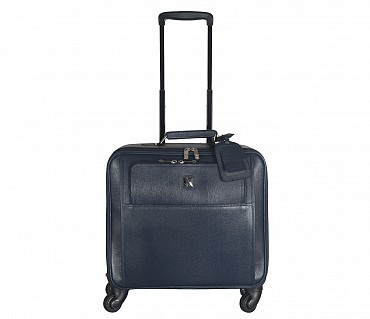 LC7-Antonia-Business cum travel cabin luggage strolley in Genuine Leather - Blue