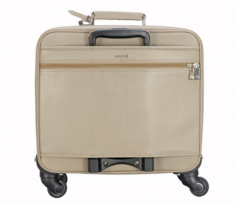 LC7-Antonia-Business cum travel cabin luggage strolley in Genuine Leather - Tope