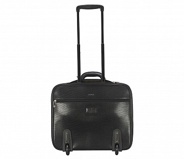 LC8-Celino-Business cum travel cabin luggage strolley in Genuine Leather - Black