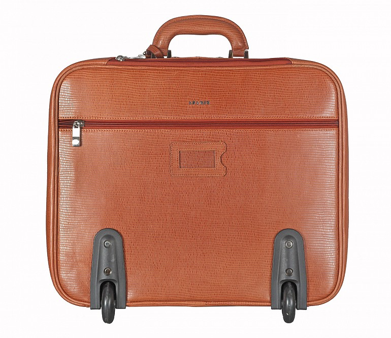 LC8-Celino-Business cum travel cabin luggage strolley in Genuine Leather - Tan