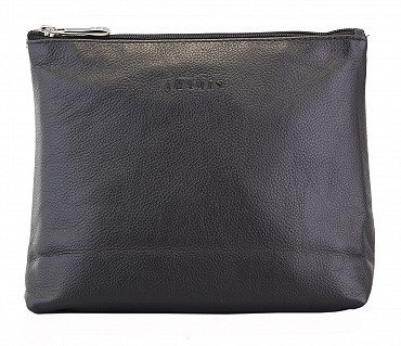 P18--Unisex Wash  & Toiletry Bag in Genuine Leather - Black