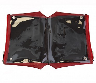 P18--Unisex Wash  & Toiletry Bag in Genuine Leather - Red