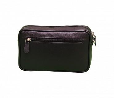 P19-Dierk-Men's bag cum travel pouch in Genuine Leather  - Black