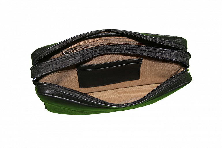 P20-Fernando-Men's bag cum travel pouch in Genuine Leather  - Black