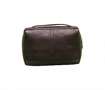 P21-Hayden-Men's bag cum travel pouch in Genuine Leather  - Black