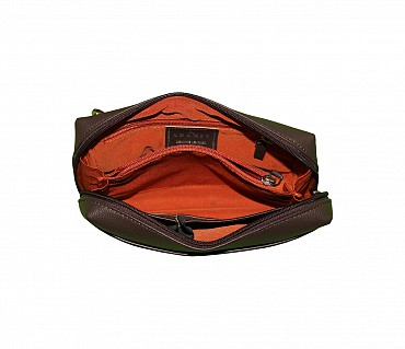 P21-Hayden-Men's bag cum travel pouch in Genuine Leather  - Brown.