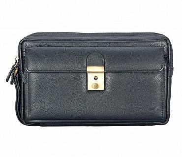 P25-Sancho-Men's bag cum travel pouch in Genuine Leather - Black