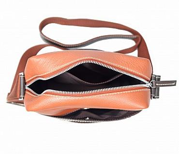P28-Andrew-Messenger Sling cross body bag in Genuine Leather - Tan