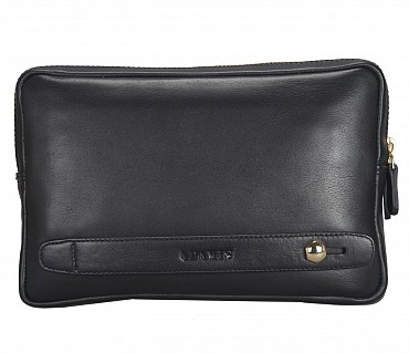 P32-Jesse-Men's bag cum travel pouch in Genuine Leather  - Black
