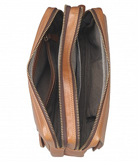 P32-Jesse-Men's bag cum travel pouch in Genuine Leather  - Tan