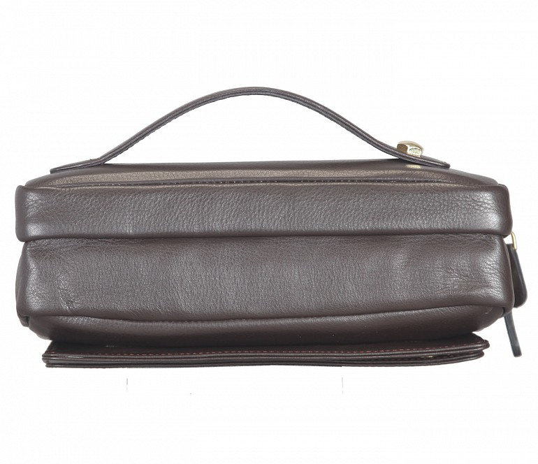 P32-Jesse-Men's bag cum travel pouch in Genuine Leather  - Brown.