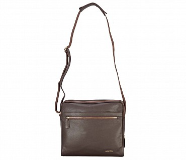 P37-Dwayne-Men's travel pouch in Genuine Leather - Brown