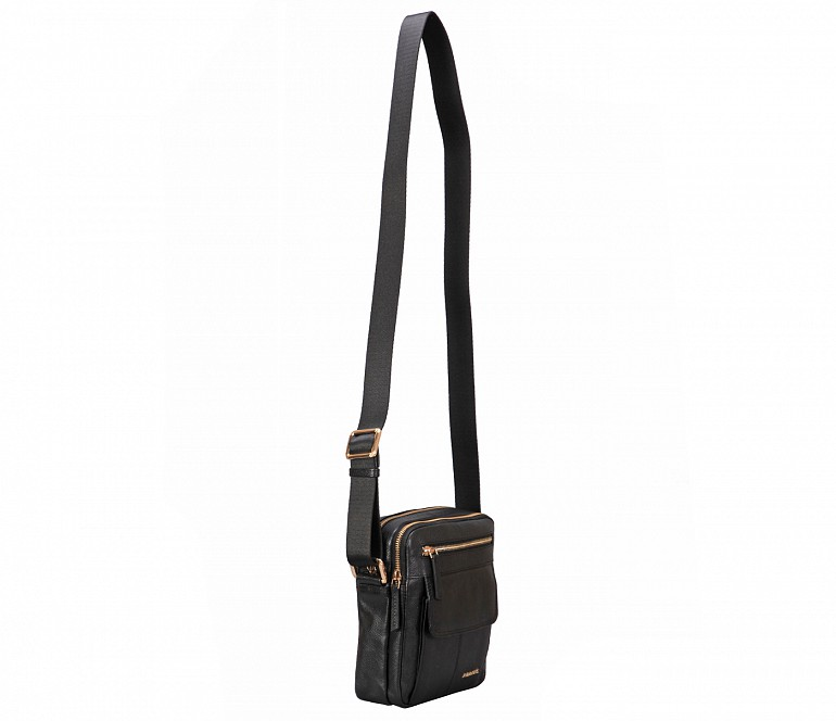 P39-Lorenzo-Men's travel pouch in Genuine Leather - Black