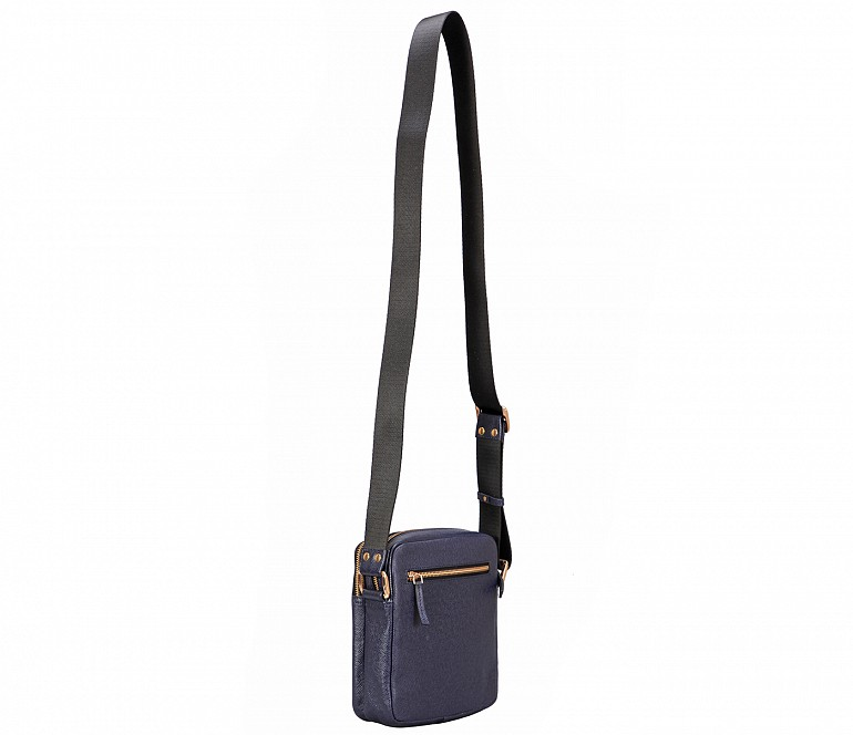 P39-Lorenzo-Men's travel pouch in Genuine Leather - Blue