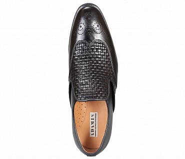 PF30-Adamis Black Color Pure Leather Footwear For Men- - Black