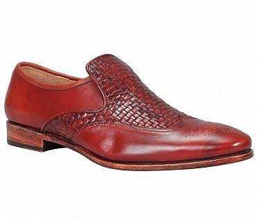 PF30-Adamis Black Color Pure Leather Footwear For Men- - Wine