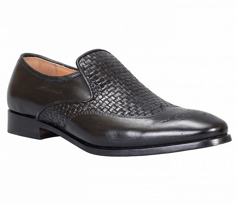 PF30-Adamis Black Color Pure Leather Footwear For Men- - Black
