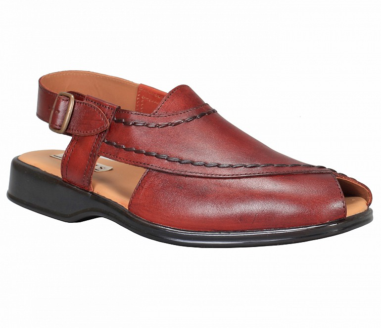 PF31-Adamis Black Color Pure Leather Footwear For Men- - Wine