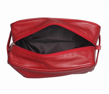 SC1--Unisex Wash & Toiletry travel Bag in Genuine Leather - Red