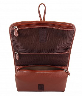 SC12--Unisex Wash & Toiletry travel Bag in Genuine Leather - Tan