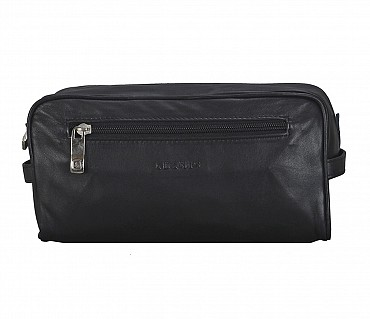 SC2--Unisex Wash & Toiletry travel Bag in Genuine Leather - Blue