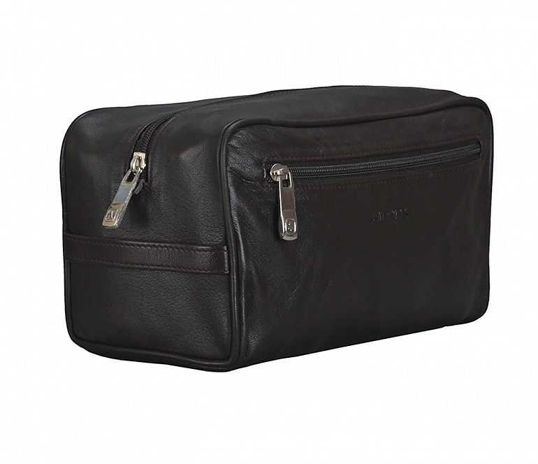 SC2--Unisex Wash & Toiletry travel Bag in Genuine Leather - Brown