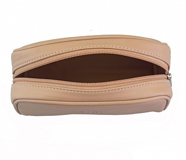 SC4S--Unisex Wash & Toiletry travel Bag in Genuine Leather - Beige