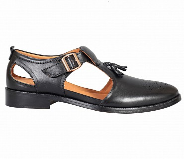 SG4-Adamis Black Color Pure Leather Footwear For Men- - Black
