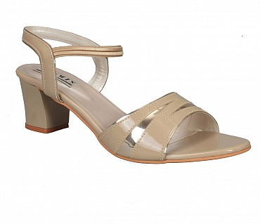 SS1-Adamis box heels with back strap comfort wear slip on sandal in beige color- - Beige