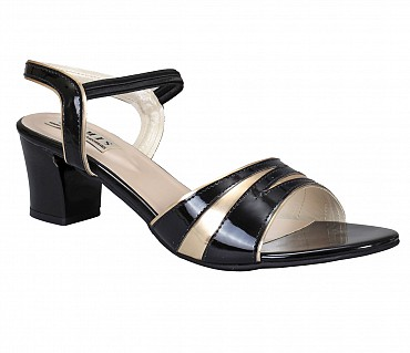 SS1-Adamis box heels with back strap comfort wear slip on sandal in beige color- - Black