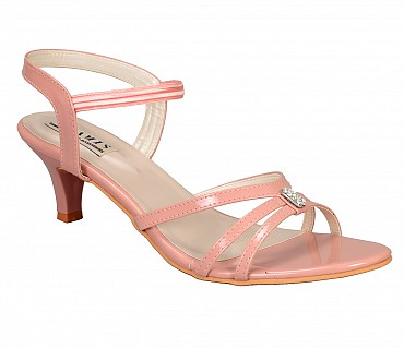 SS2-Adamis stilettos heels with back strap comfort wear slip on sandal in black color- - Pink.
