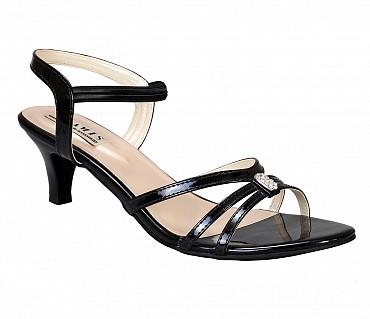 SS2-Adamis stilettos heels with back strap comfort wear slip on sandal in black color- - Black