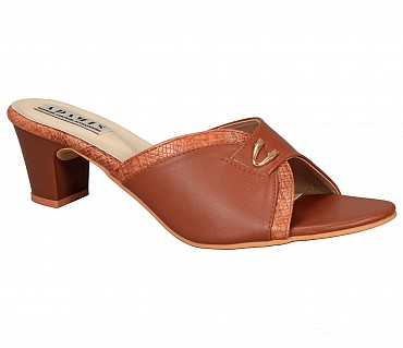 SS3-Adamis box heels comfort wear slip on sandal in tan color- - Tan